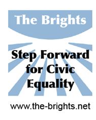 The Brights logo with text Step Forward for Civic Equality